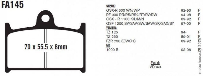 Тормозные колодки FA145 Suzuki, Yamaha.