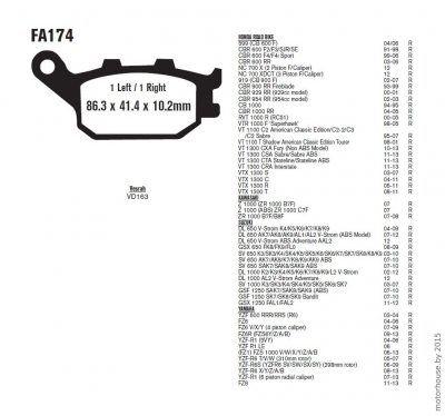Тормозные колодки FA174 Honda, Kawasaki, Suzuki, Yamaha.