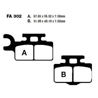 Тормозные колодки EBC FA302TT для мотоциклов Kawasaki KX 65 2000-2020, Suzuki RM 65 2003-2005