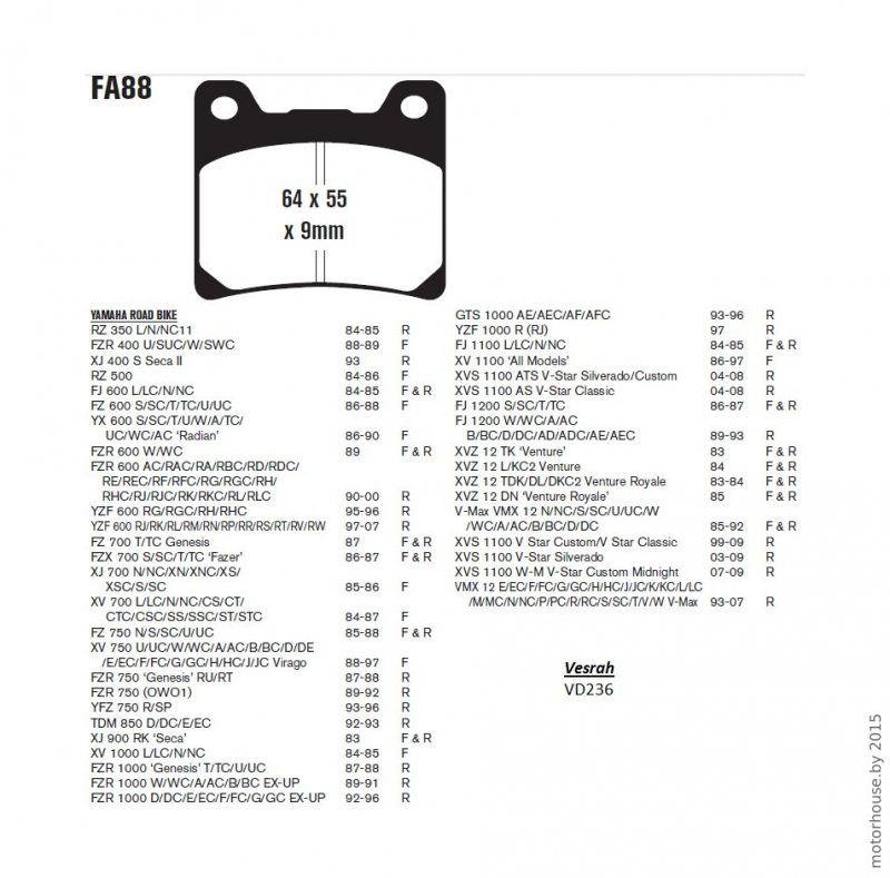 Тормозные колодки  FA88 Yamaha.