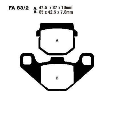 Тормозные колодки EBC SFA083/2 для мотоциклов Aprilia, Gilera, Honda, Piaggio