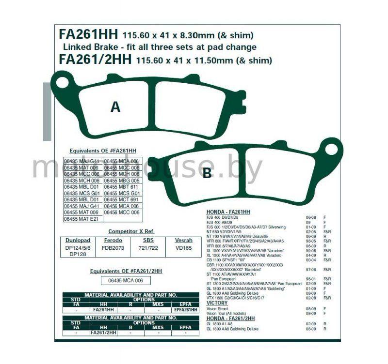 Тормозные колодки FA261HH Honda.