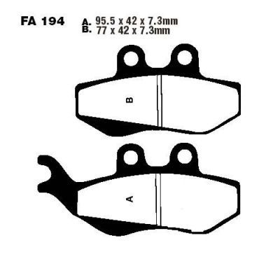 Тормозные колодки EBC SFA194 для мотоциклов  Benelli , CPI GTR, Derbi, Gilera
