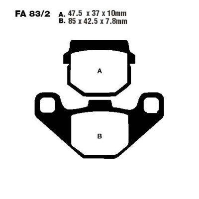 Тормозные колодки EBC SFA083/2HH для мотоциклов Aprilia, Gilera, Honda , Piaggio