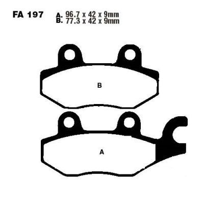 Тормозные колодки EBC SFA197HH для мотоциклов  Aeon, Benelli, CPI, Daelim