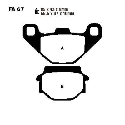 Тормозные колодки EBC SFA067 для мотоциклов Aeon, Kymco Agility