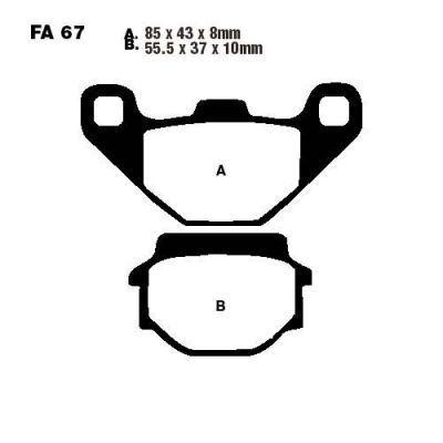 Тормозные колодки EBC SFAC067 для мотоциклов Aeon, Kymco Agility
