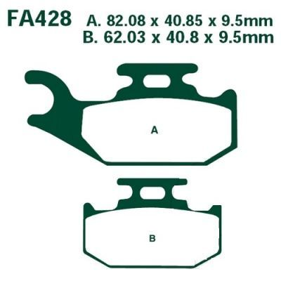 Тормозные колодки EBC  FA428R для мотоциклов Yamaha YFM 700 R 2006-2012, Yamaha YXR 660 F Rhino 2004-2007